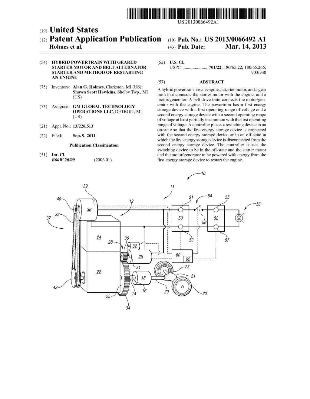 HYBRID POWERTRAIN WITH GEARED STARTER MOTOR AND BELT ALTERNATOR STARTER     AND METHOD OF RESTARTING AN ENGINE - diagram, schematic, and image 01