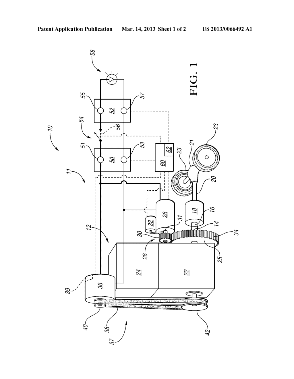 HYBRID POWERTRAIN WITH GEARED STARTER MOTOR AND BELT ALTERNATOR STARTER     AND METHOD OF RESTARTING AN ENGINE - diagram, schematic, and image 02