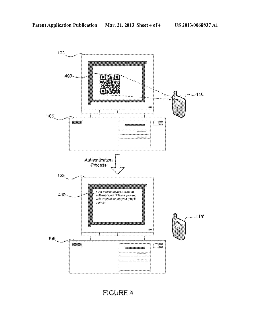 MOBILE COMPUTING DEVICE AUTHENTICATION USING SCANNABLE IMAGES - diagram, schematic, and image 05