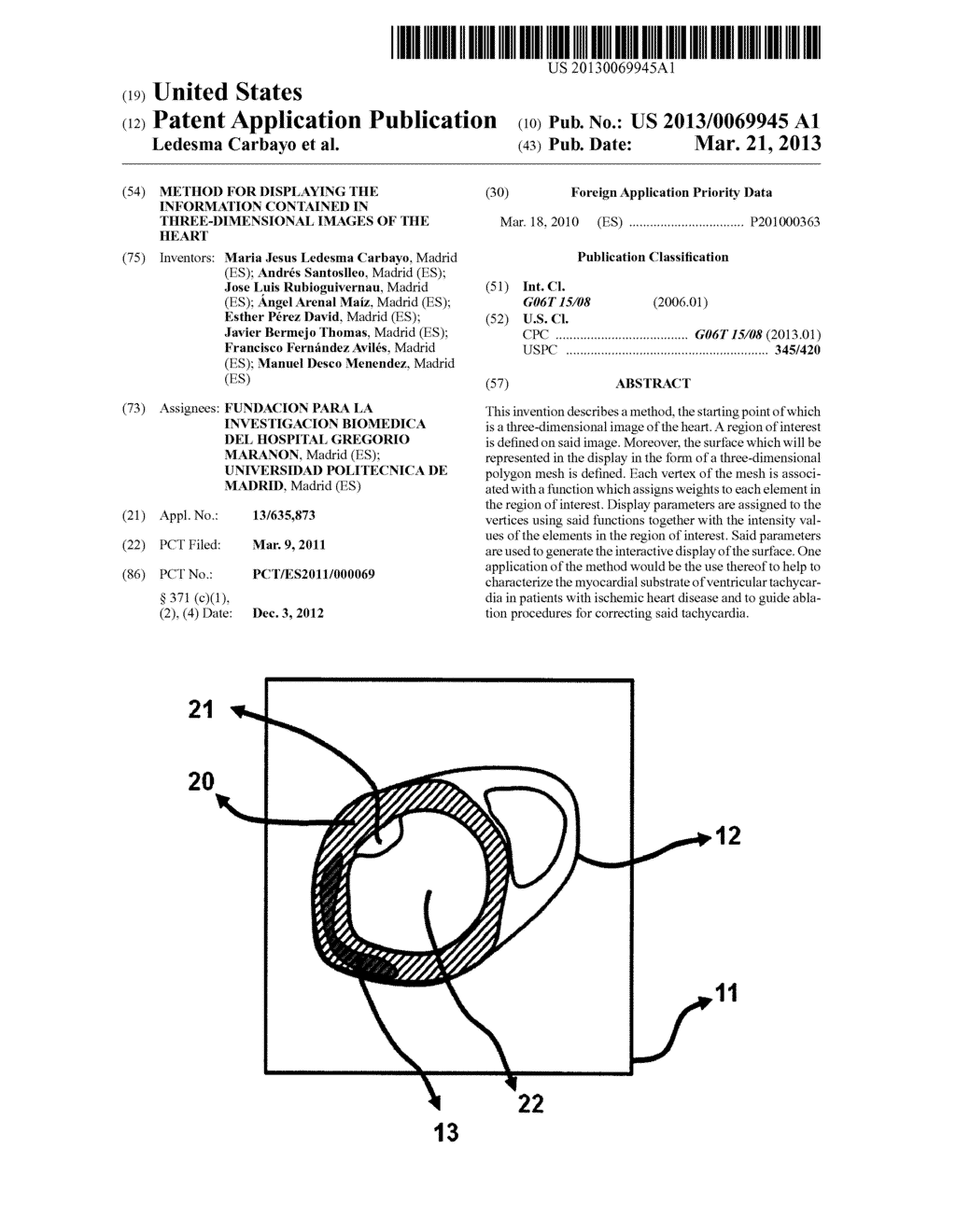 METHOD FOR DISPLAYING THE INFORMATION CONTAINED IN THREE-DIMENSIONAL     IMAGES OF THE HEART - diagram, schematic, and image 01