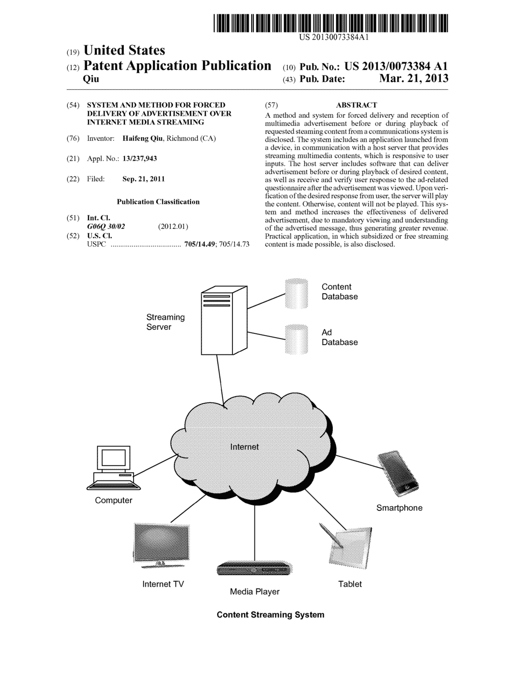 System and method for forced delivery of advertisement over Internet media     streaming - diagram, schematic, and image 01