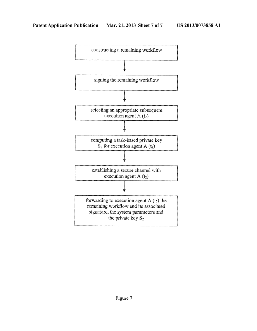 METHOD AND A SYSTEM FOR A SECURE EXECUTION OF WORKFLOW TASKS OF A WORKFLOW     IN A DECENTRALIZED WORKFLOW SYSTEM - diagram, schematic, and image 08