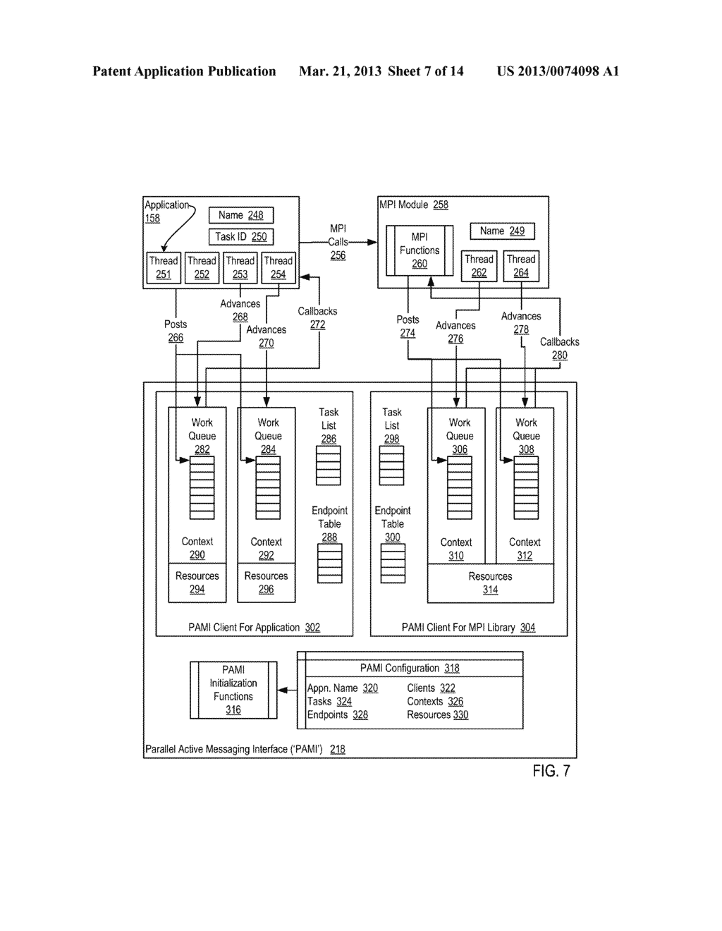 PROCESSING DATA COMMUNICATIONS EVENTS IN A PARALLEL ACTIVE MESSAGING     INTERFACE OF A PARALLEL COMPUTER - diagram, schematic, and image 08
