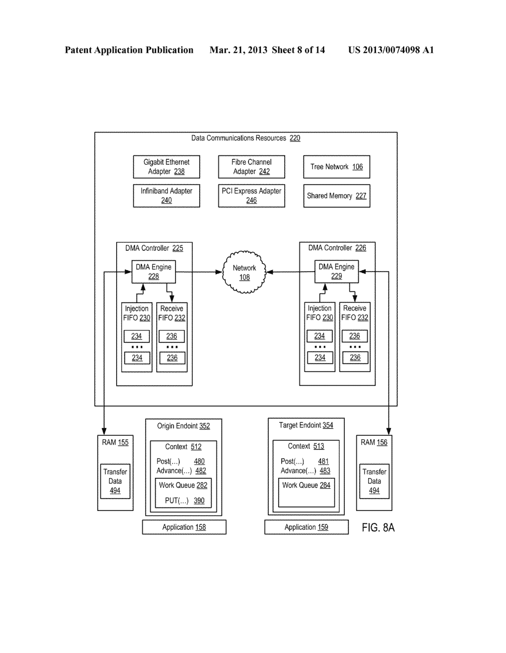 PROCESSING DATA COMMUNICATIONS EVENTS IN A PARALLEL ACTIVE MESSAGING     INTERFACE OF A PARALLEL COMPUTER - diagram, schematic, and image 09