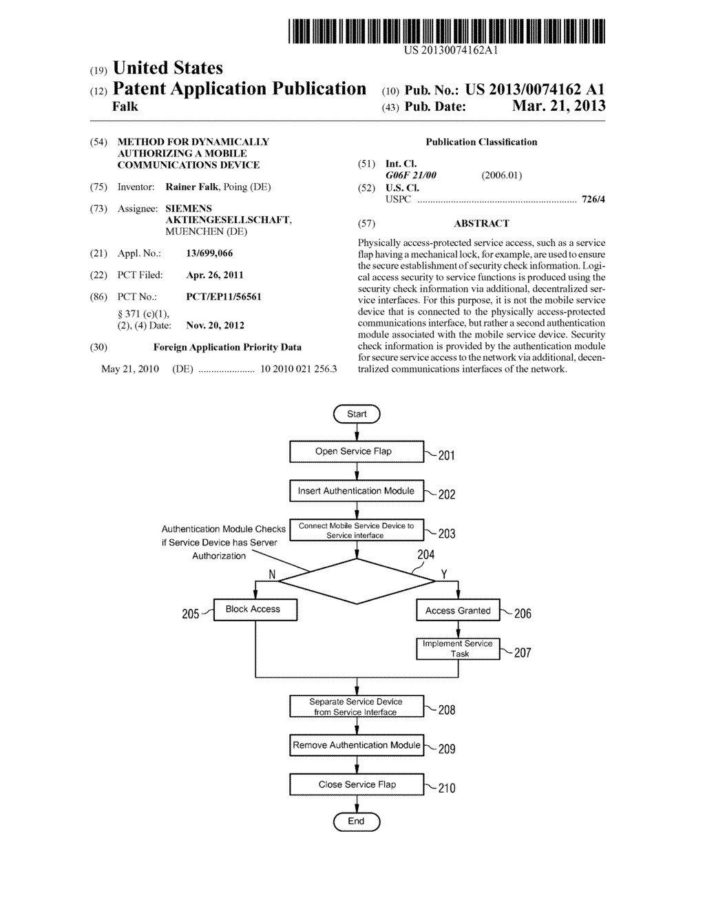 METHOD FOR DYNAMICALLY AUTHORIZING A MOBILE COMMUNICATIONS DEVICE - diagram, schematic, and image 01