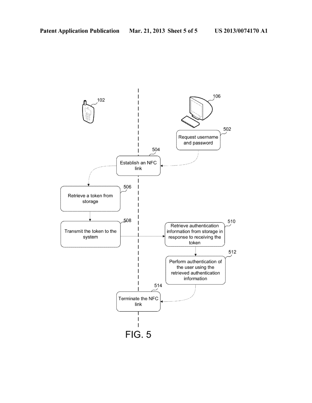 AUTHENTICATING A USER OF A SYSTEM USING NEAR FIELD COMMUNICATION - diagram, schematic, and image 06