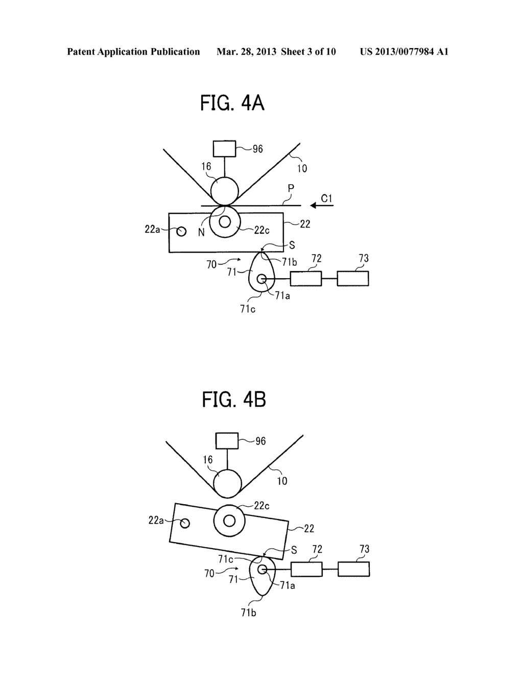 IMAGE FORMING APPARATUS WITH MECHANISM CAPABLE OF MOVING TRANSFER DEVICE     WITH RESPECT TO TONER IMAGE CARRIER AND IMAGE FORMING METHOD FOR MOVING     TRANSFER DEVICE WITH RESPECT TO TONER IMAGE CARRIER - diagram, schematic, and image 04