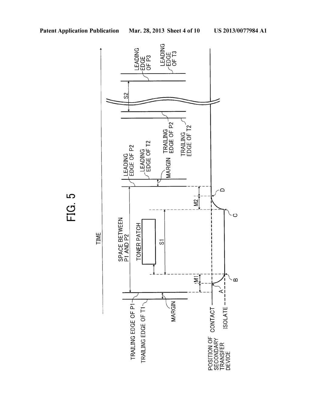 IMAGE FORMING APPARATUS WITH MECHANISM CAPABLE OF MOVING TRANSFER DEVICE     WITH RESPECT TO TONER IMAGE CARRIER AND IMAGE FORMING METHOD FOR MOVING     TRANSFER DEVICE WITH RESPECT TO TONER IMAGE CARRIER - diagram, schematic, and image 05