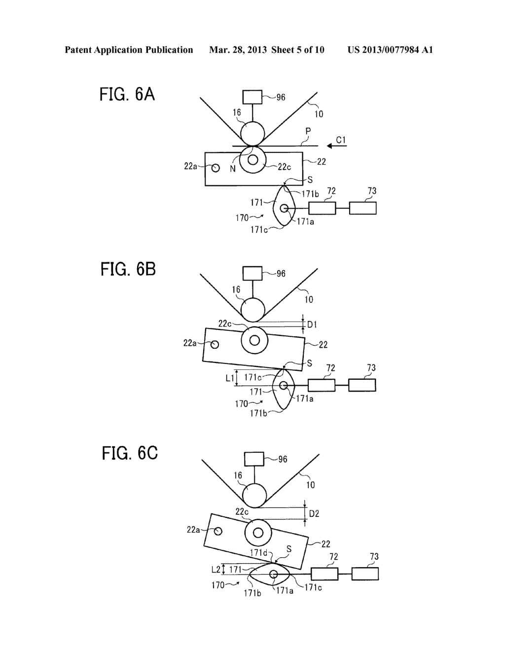 IMAGE FORMING APPARATUS WITH MECHANISM CAPABLE OF MOVING TRANSFER DEVICE     WITH RESPECT TO TONER IMAGE CARRIER AND IMAGE FORMING METHOD FOR MOVING     TRANSFER DEVICE WITH RESPECT TO TONER IMAGE CARRIER - diagram, schematic, and image 06