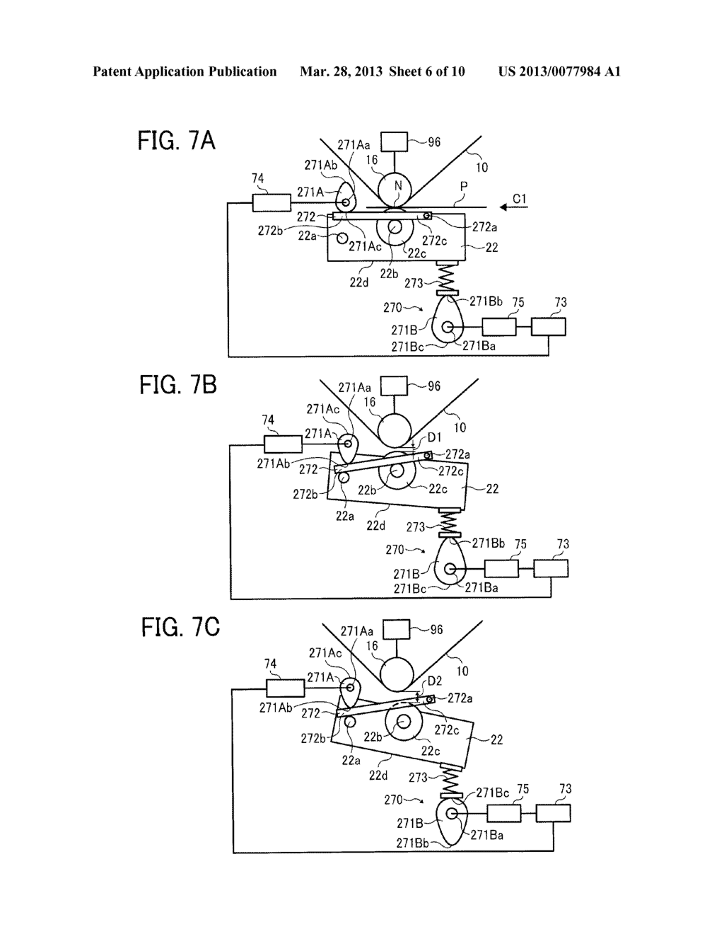 IMAGE FORMING APPARATUS WITH MECHANISM CAPABLE OF MOVING TRANSFER DEVICE     WITH RESPECT TO TONER IMAGE CARRIER AND IMAGE FORMING METHOD FOR MOVING     TRANSFER DEVICE WITH RESPECT TO TONER IMAGE CARRIER - diagram, schematic, and image 07