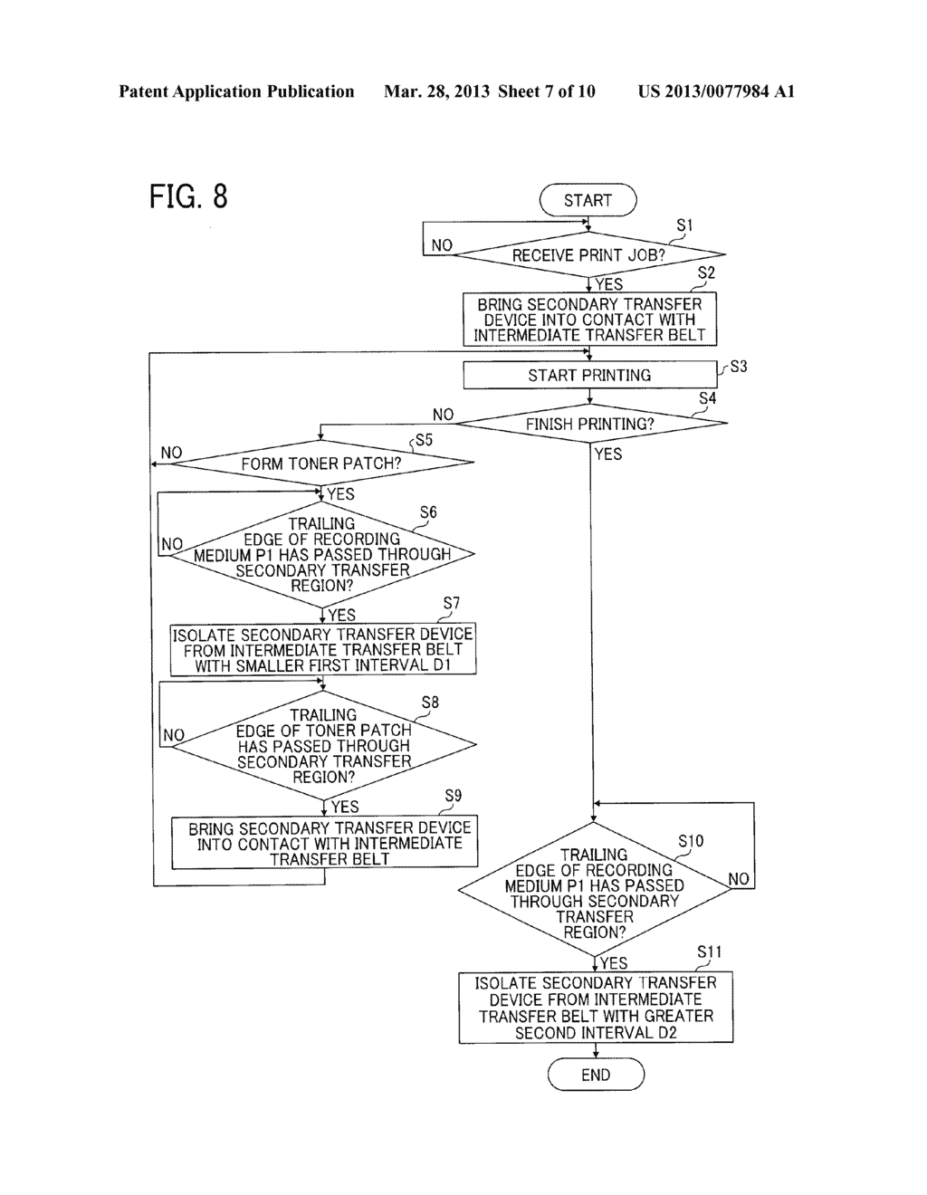 IMAGE FORMING APPARATUS WITH MECHANISM CAPABLE OF MOVING TRANSFER DEVICE     WITH RESPECT TO TONER IMAGE CARRIER AND IMAGE FORMING METHOD FOR MOVING     TRANSFER DEVICE WITH RESPECT TO TONER IMAGE CARRIER - diagram, schematic, and image 08