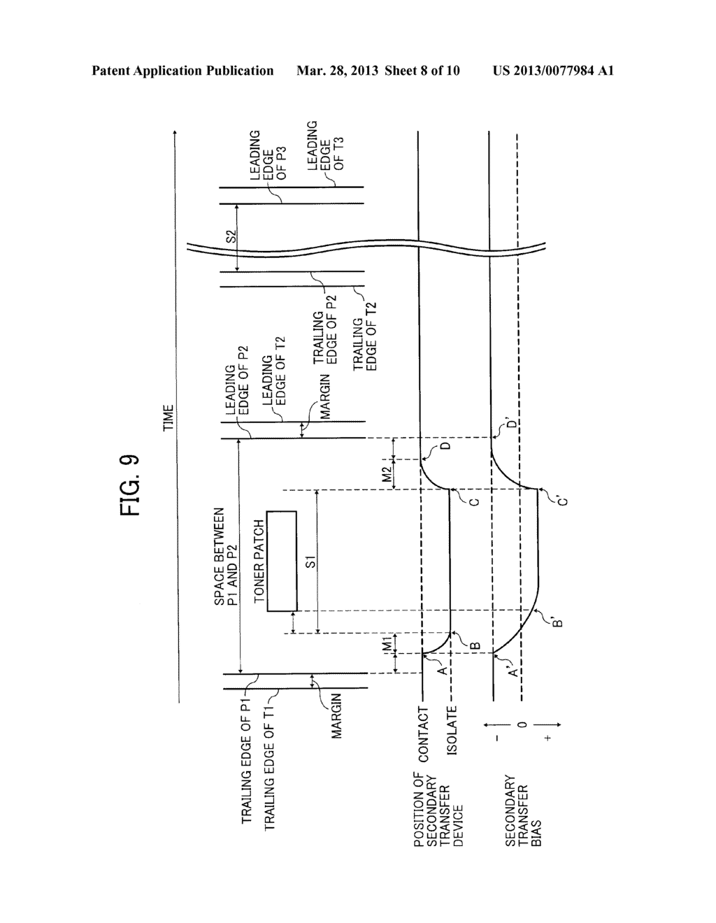 IMAGE FORMING APPARATUS WITH MECHANISM CAPABLE OF MOVING TRANSFER DEVICE     WITH RESPECT TO TONER IMAGE CARRIER AND IMAGE FORMING METHOD FOR MOVING     TRANSFER DEVICE WITH RESPECT TO TONER IMAGE CARRIER - diagram, schematic, and image 09