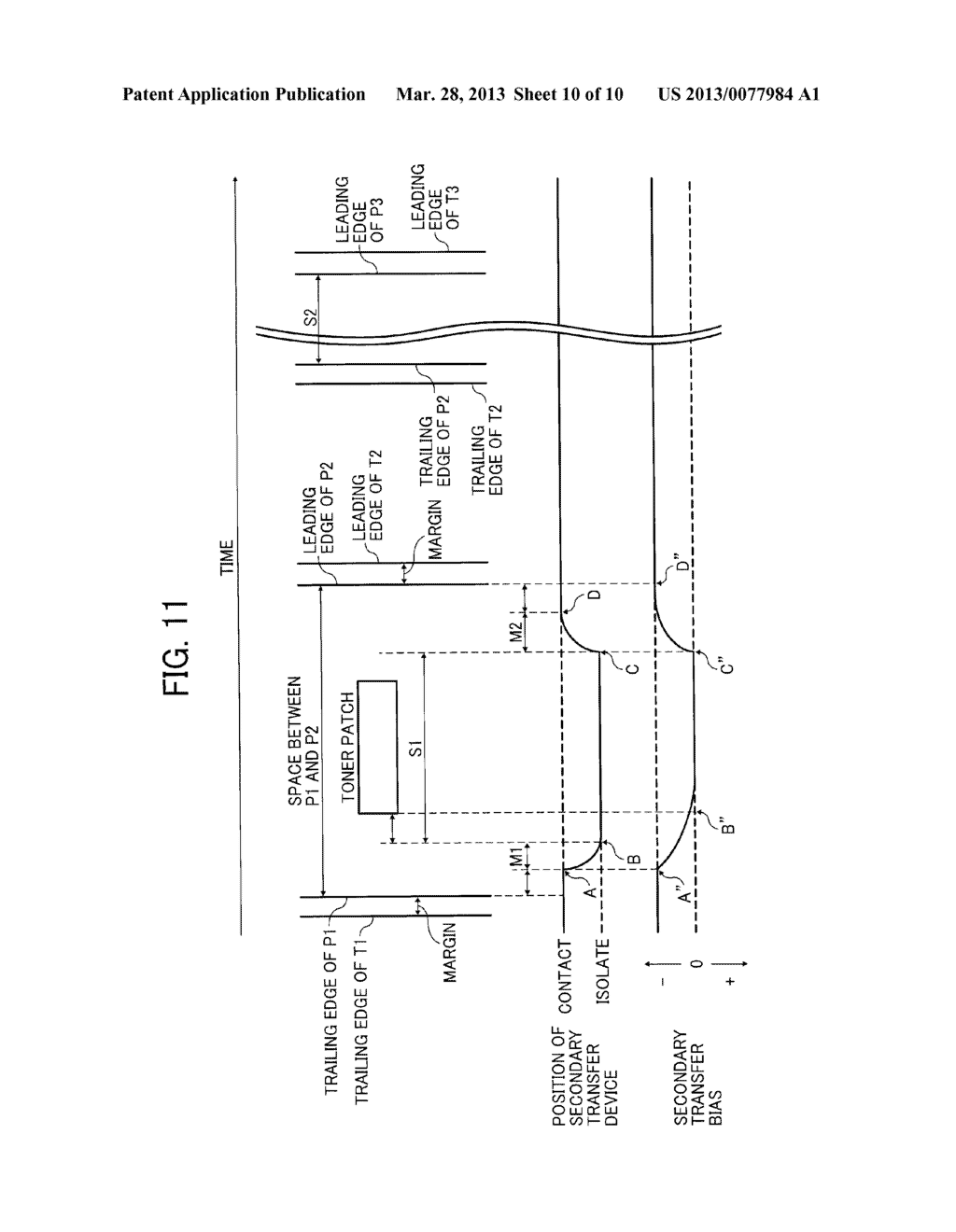 IMAGE FORMING APPARATUS WITH MECHANISM CAPABLE OF MOVING TRANSFER DEVICE     WITH RESPECT TO TONER IMAGE CARRIER AND IMAGE FORMING METHOD FOR MOVING     TRANSFER DEVICE WITH RESPECT TO TONER IMAGE CARRIER - diagram, schematic, and image 11