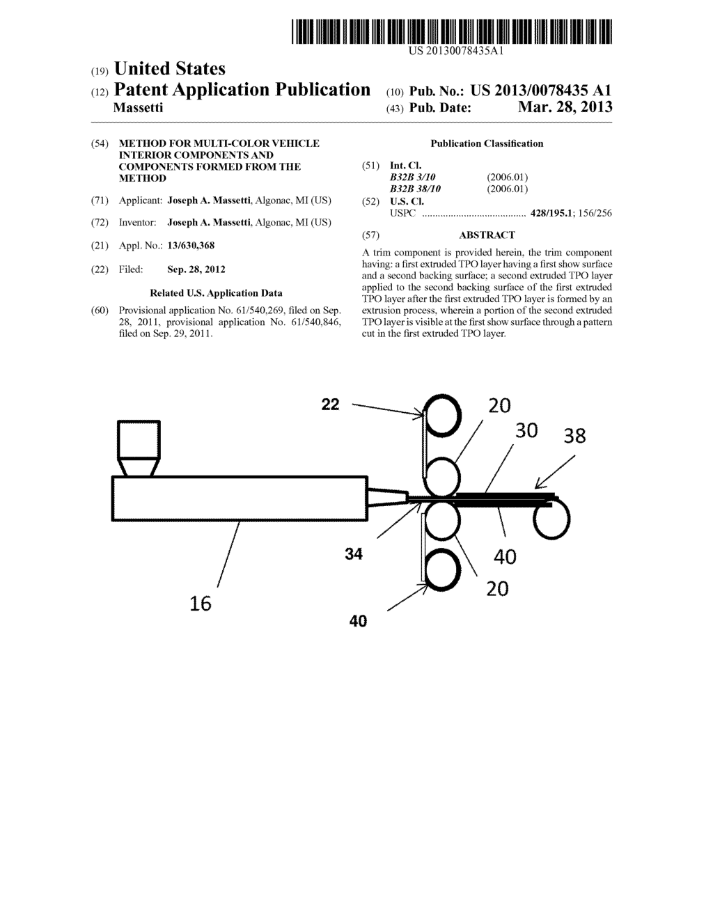 METHOD FOR MULTI-COLOR VEHICLE INTERIOR COMPONENTS AND COMPONENTS FORMED     FROM THE METHOD - diagram, schematic, and image 01