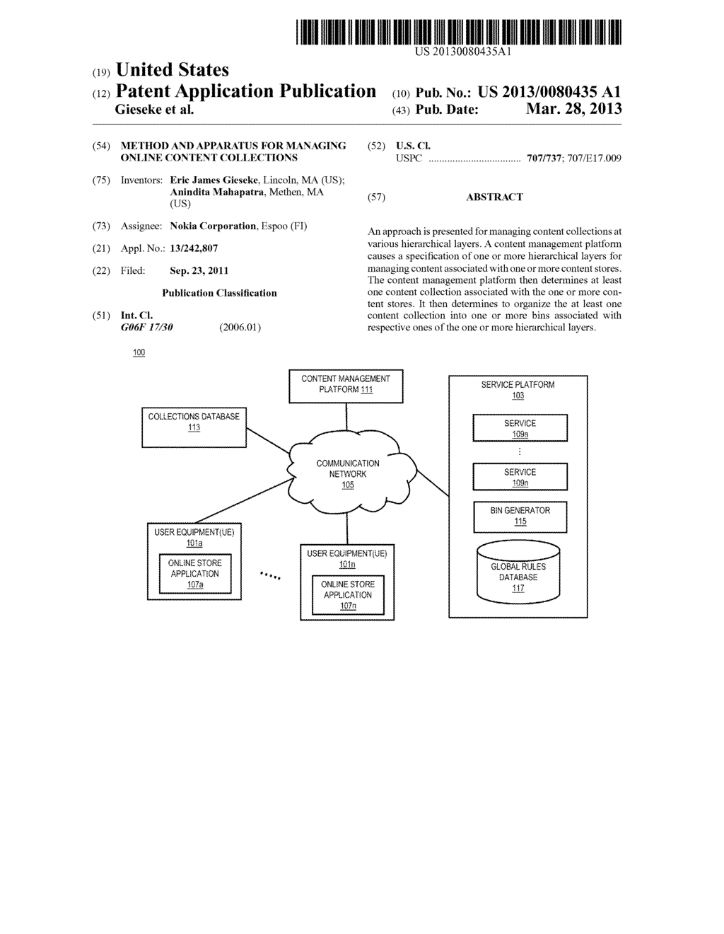 METHOD AND APPARATUS FOR MANAGING ONLINE CONTENT COLLECTIONS - diagram, schematic, and image 01