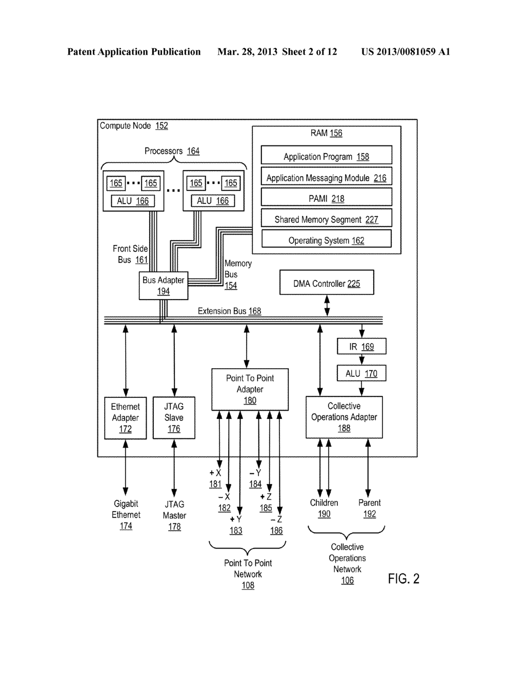 DATA COMMUNICATIONS IN A PARALLEL ACTIVE MESSAGING INTERFACE OF A PARALLEL     COMPUTER - diagram, schematic, and image 03