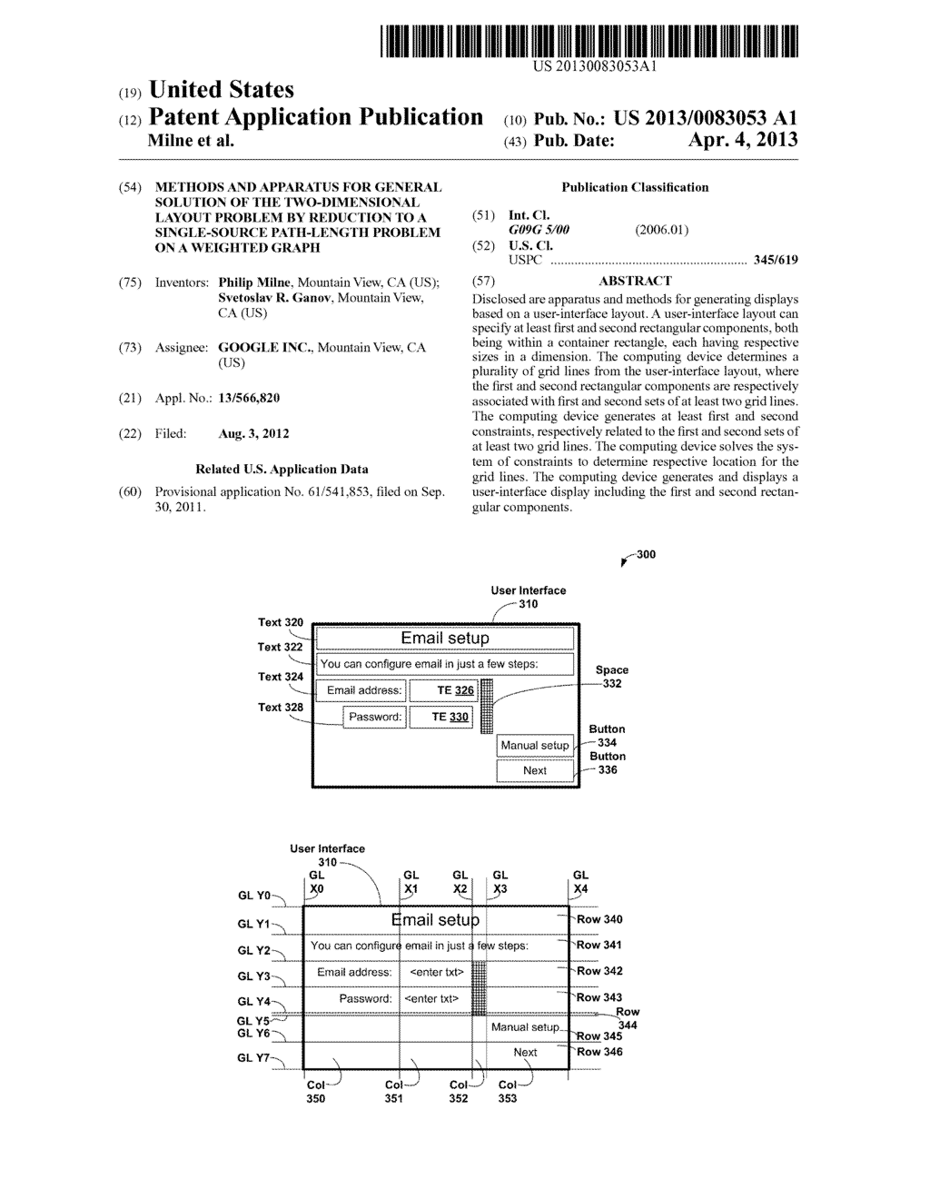 METHODS AND APPARATUS FOR GENERAL SOLUTION OF THE TWO-DIMENSIONAL LAYOUT     PROBLEM BY REDUCTION TO A SINGLE-SOURCE PATH-LENGTH PROBLEM ON A WEIGHTED     GRAPH - diagram, schematic, and image 01