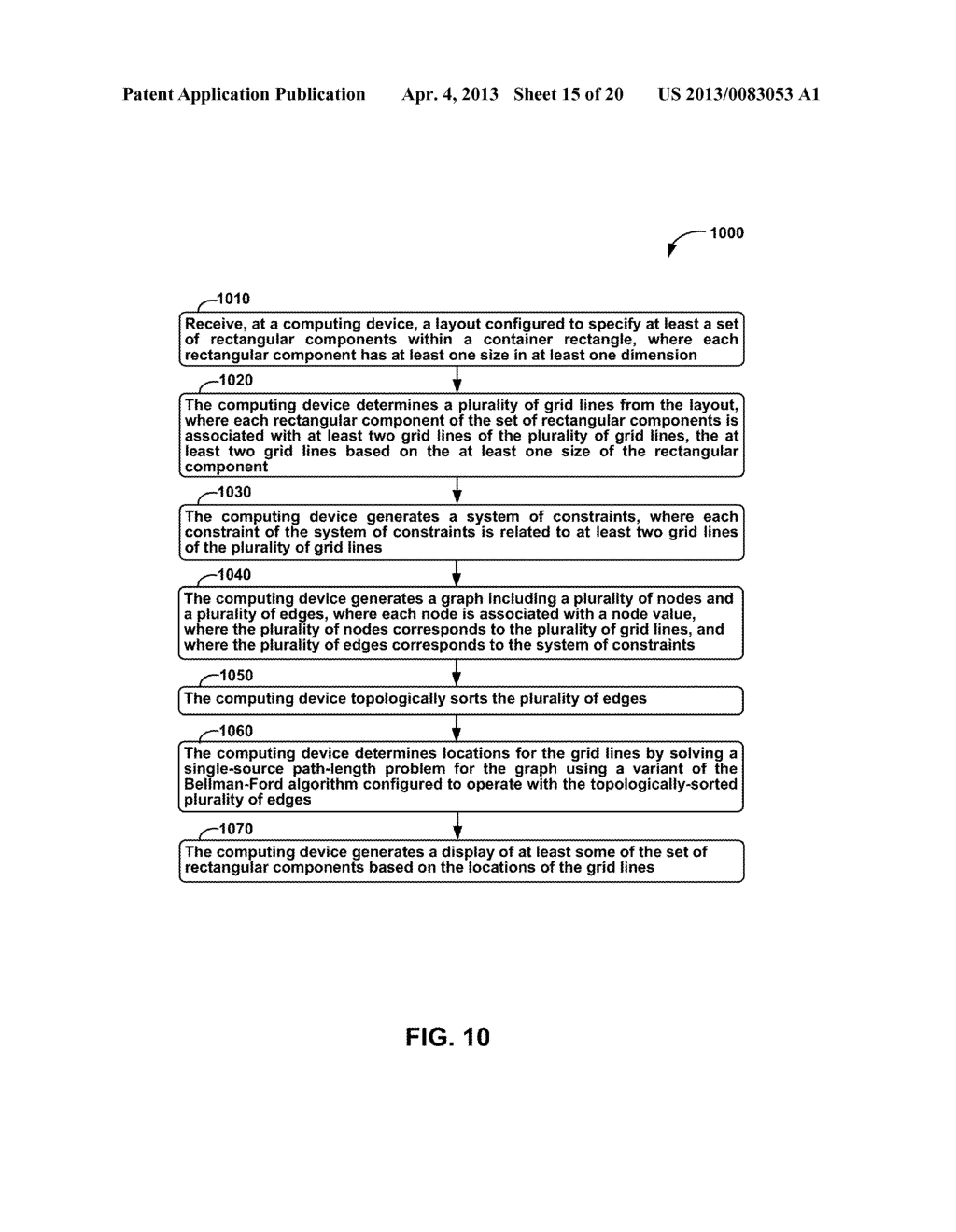 METHODS AND APPARATUS FOR GENERAL SOLUTION OF THE TWO-DIMENSIONAL LAYOUT     PROBLEM BY REDUCTION TO A SINGLE-SOURCE PATH-LENGTH PROBLEM ON A WEIGHTED     GRAPH - diagram, schematic, and image 16