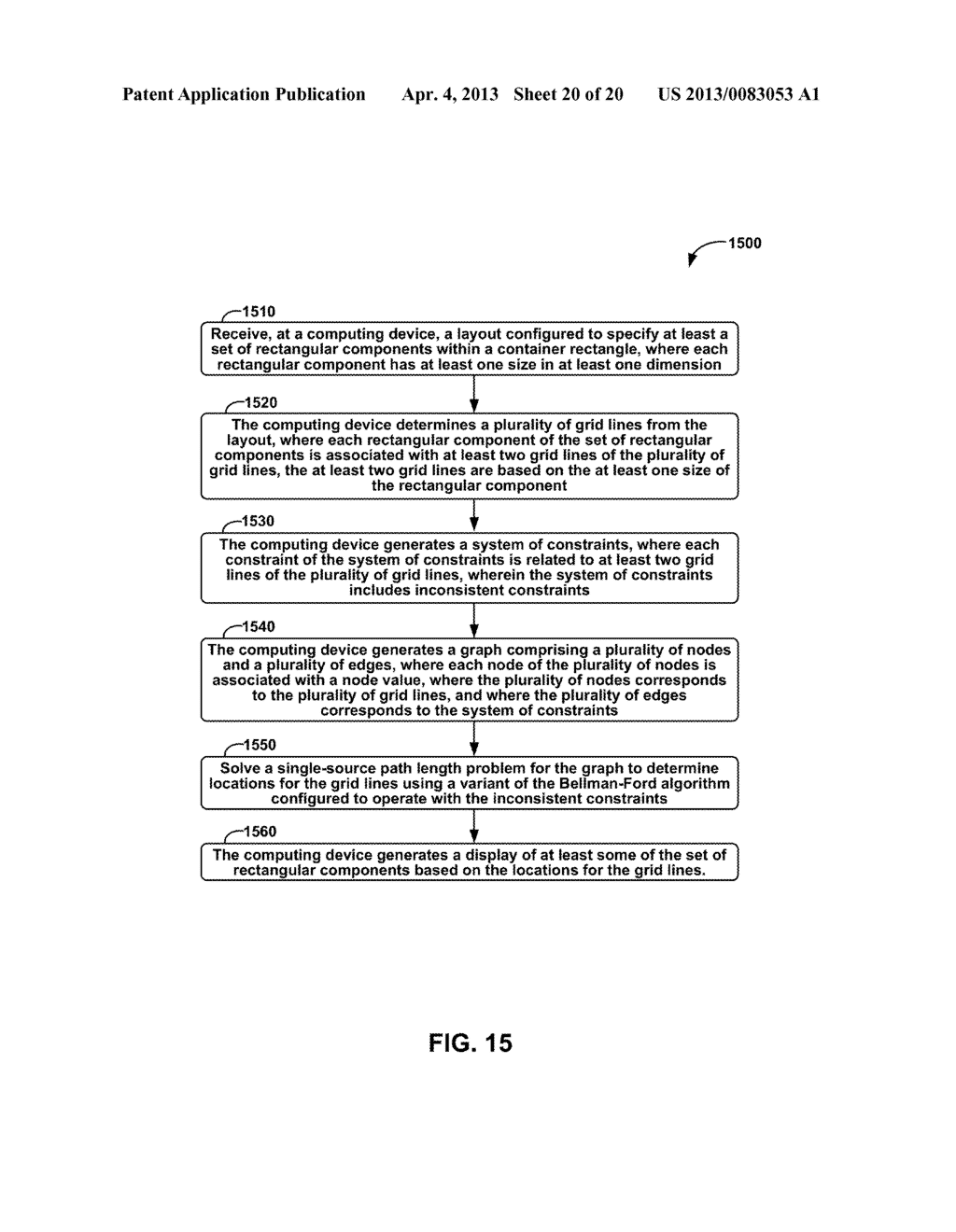 METHODS AND APPARATUS FOR GENERAL SOLUTION OF THE TWO-DIMENSIONAL LAYOUT     PROBLEM BY REDUCTION TO A SINGLE-SOURCE PATH-LENGTH PROBLEM ON A WEIGHTED     GRAPH - diagram, schematic, and image 21