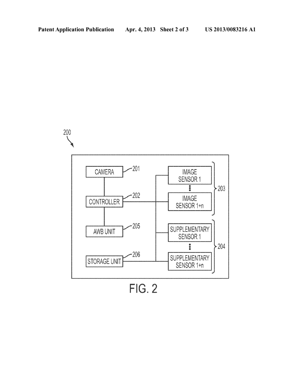 APPARATUS AND METHOD FOR AUTOMATIC WHITE BALANCE WITH SUPPLEMENTARY     SENSORS - diagram, schematic, and image 03