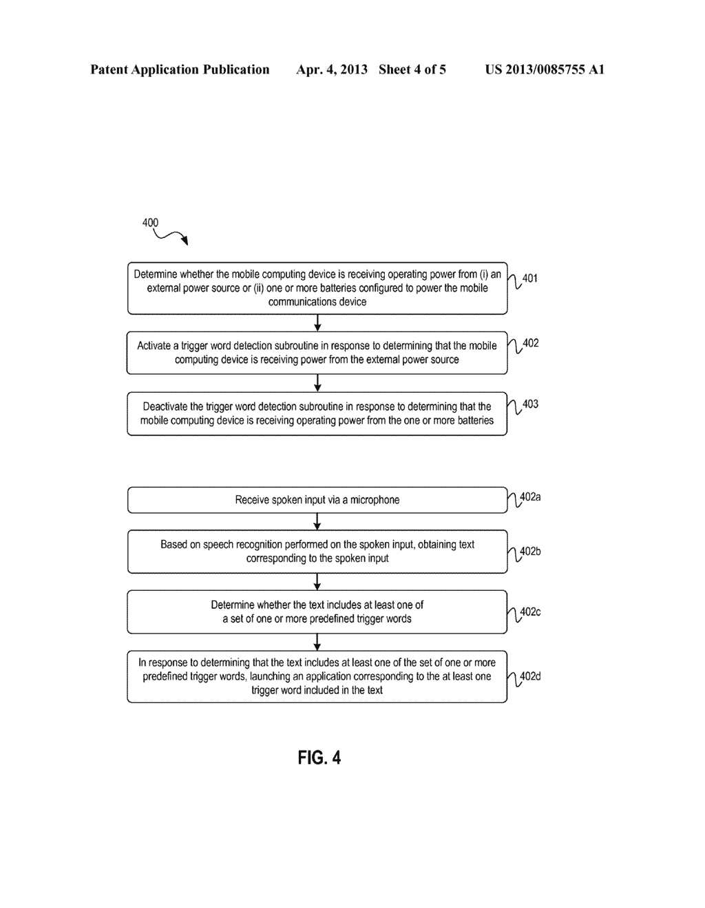 Systems And Methods For Continual Speech Recognition And Detection In     Mobile Computing Devices - diagram, schematic, and image 05