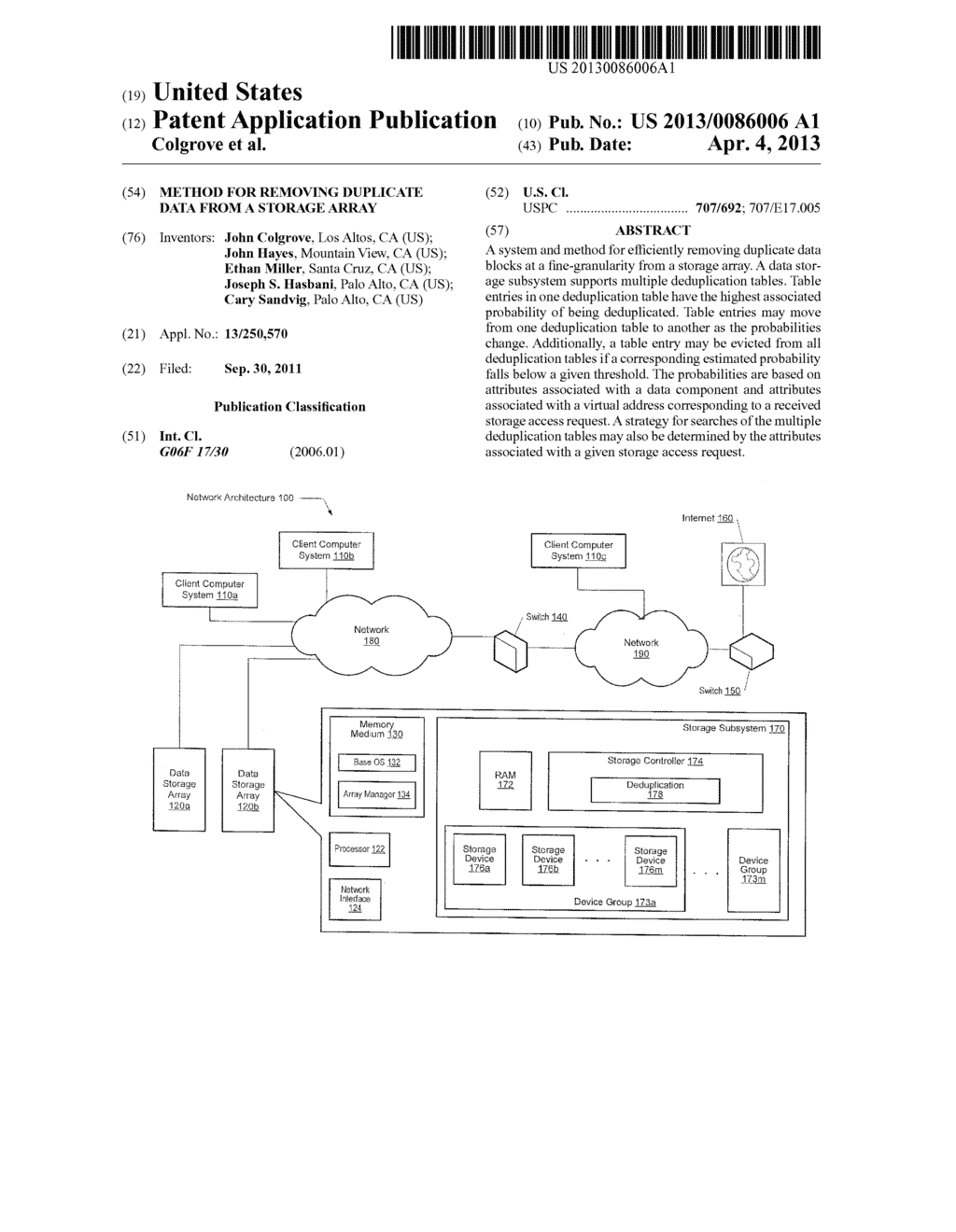 METHOD FOR REMOVING DUPLICATE DATA FROM A STORAGE ARRAY - diagram, schematic, and image 01