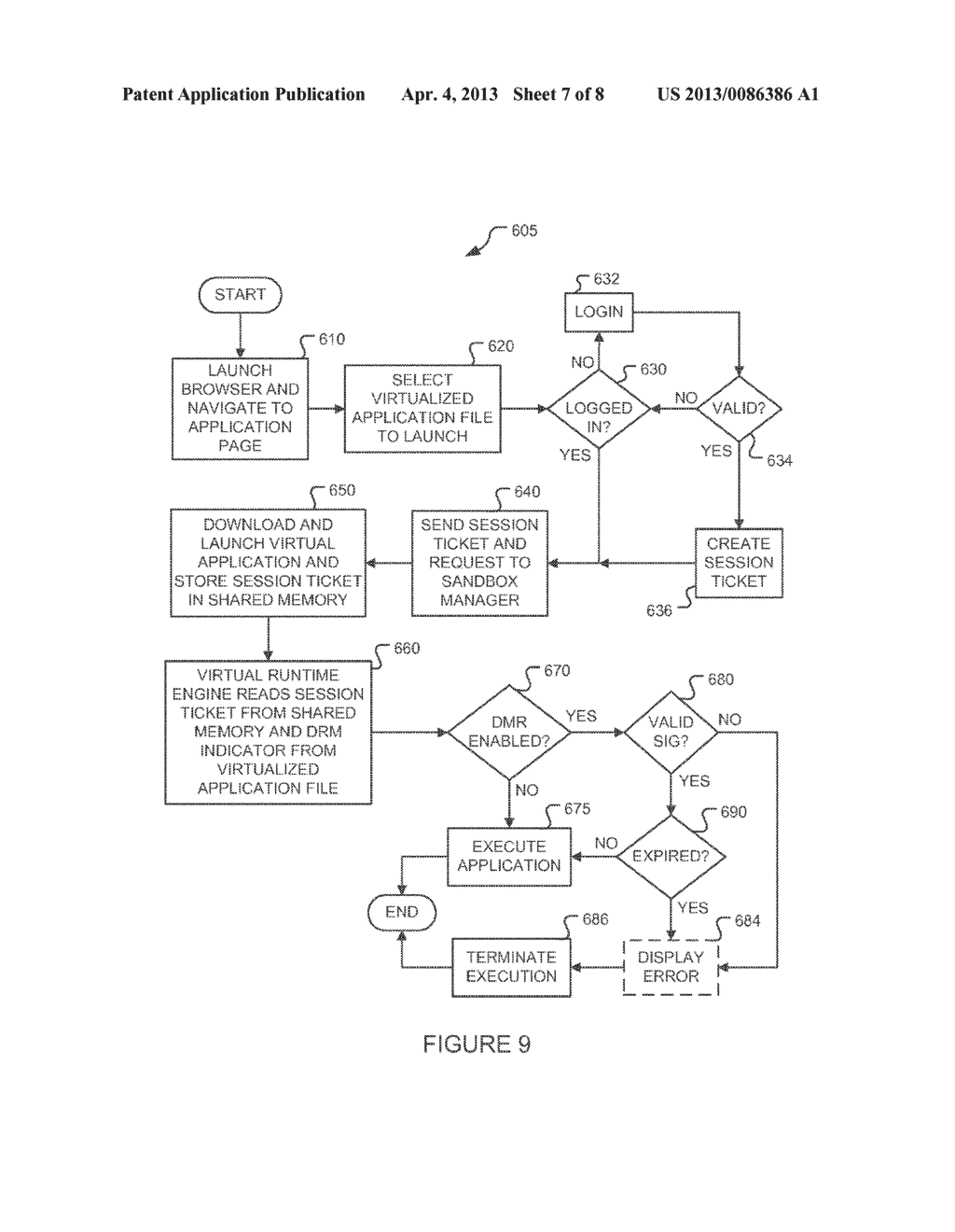 METHOD AND SYSTEM FOR RESTRICTING EXECUTION OF VIRTUAL APPLICATIONS TO A     MANAGED PROCESS ENVIRONMENT - diagram, schematic, and image 08