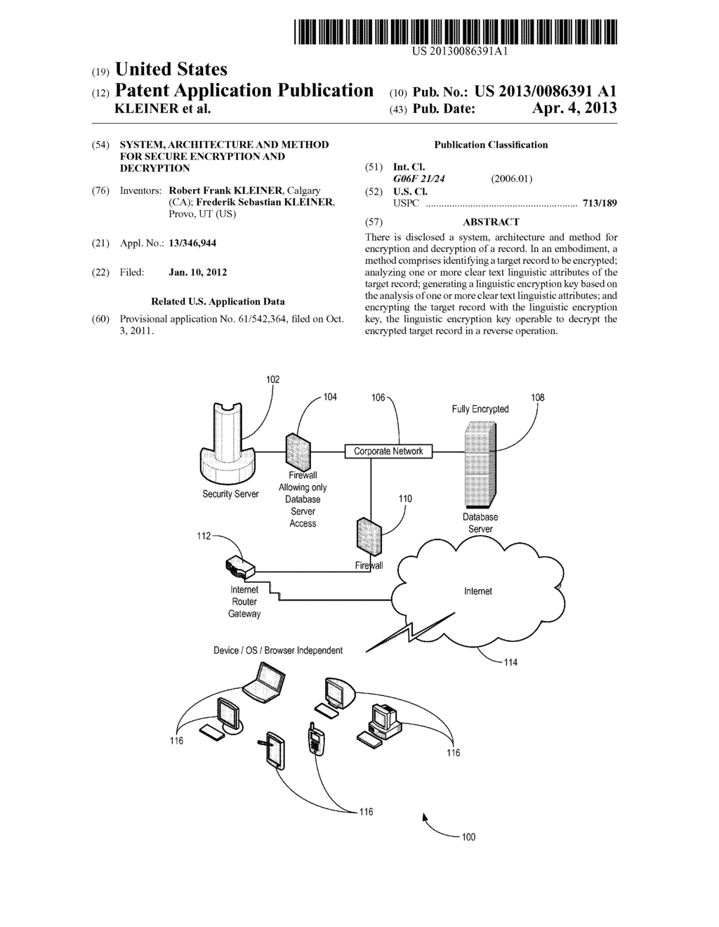 SYSTEM, ARCHITECTURE AND METHOD FOR SECURE ENCRYPTION AND DECRYPTION - diagram, schematic, and image 01
