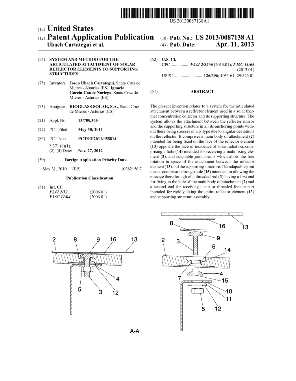 SYSTEM AND METHOD FOR THE ARTICULATED ATTACHMENT OF SOLAR REFLECTOR     ELEMENTS TO SUPPORTING STRUCTURES - diagram, schematic, and image 01