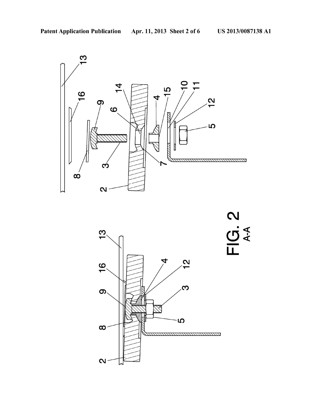 SYSTEM AND METHOD FOR THE ARTICULATED ATTACHMENT OF SOLAR REFLECTOR     ELEMENTS TO SUPPORTING STRUCTURES - diagram, schematic, and image 03