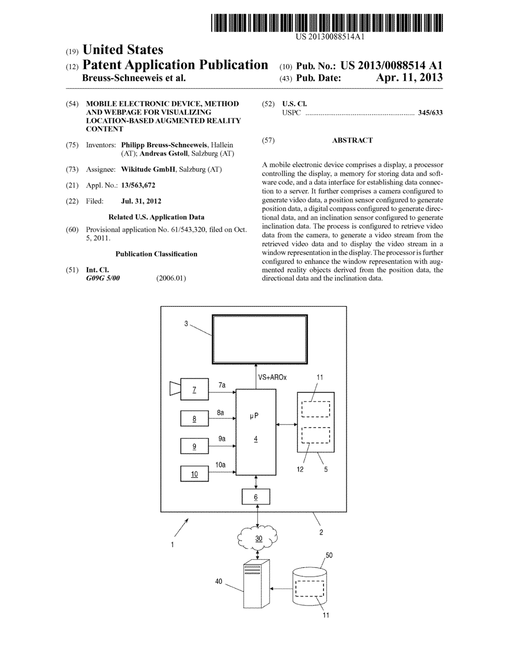 MOBILE ELECTRONIC DEVICE, METHOD AND WEBPAGE FOR VISUALIZING     LOCATION-BASED AUGMENTED REALITY CONTENT - diagram, schematic, and image 01