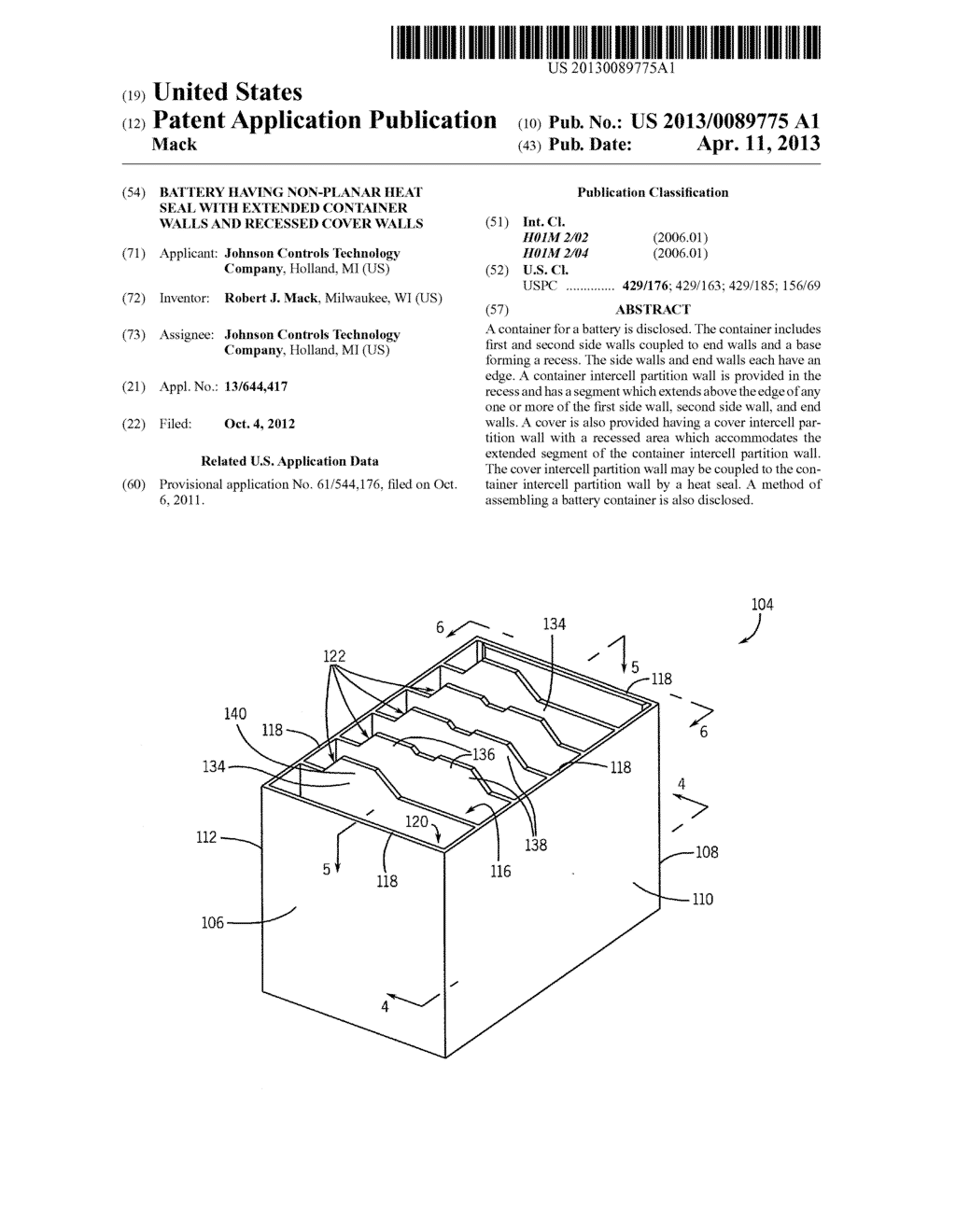 BATTERY HAVING NON-PLANAR HEAT SEAL WITH EXTENDED CONTAINER WALLS AND     RECESSED COVER WALLS - diagram, schematic, and image 01