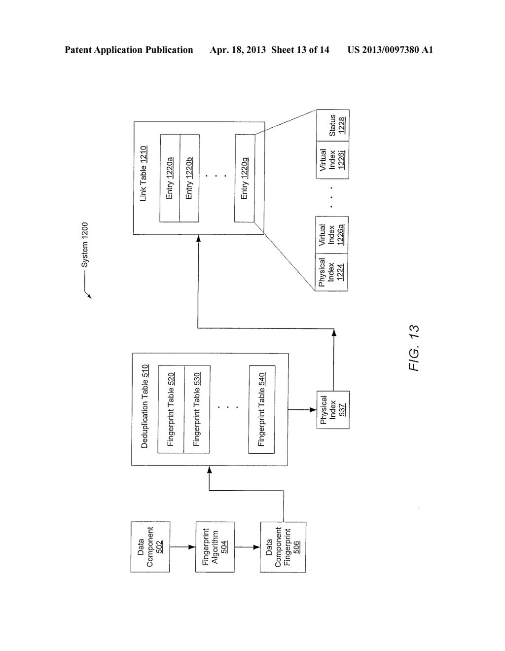 METHOD FOR MAINTAINING MULTIPLE FINGERPRINT TABLES IN A DEDUPLICATING     STORAGE SYSTEM - diagram, schematic, and image 14