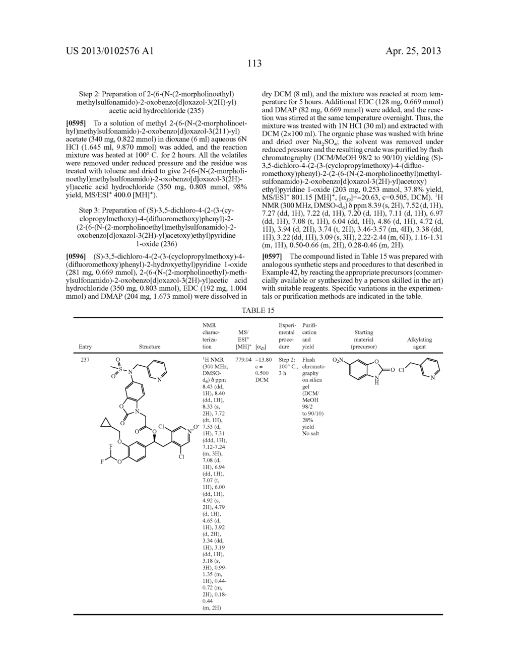 DERIVATIVES OF 1-PHENYL-2-PYRIDINYL ALKYL ALCOHOLS AS PHOSPHODIESTERASE     INHIBITORS - diagram, schematic, and image 113