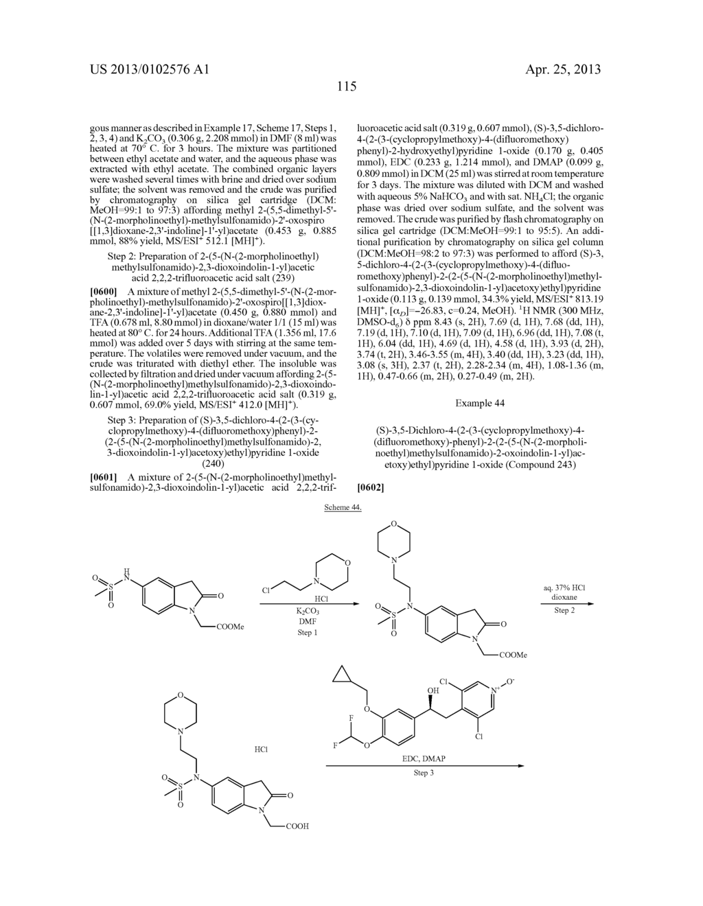 DERIVATIVES OF 1-PHENYL-2-PYRIDINYL ALKYL ALCOHOLS AS PHOSPHODIESTERASE     INHIBITORS - diagram, schematic, and image 115