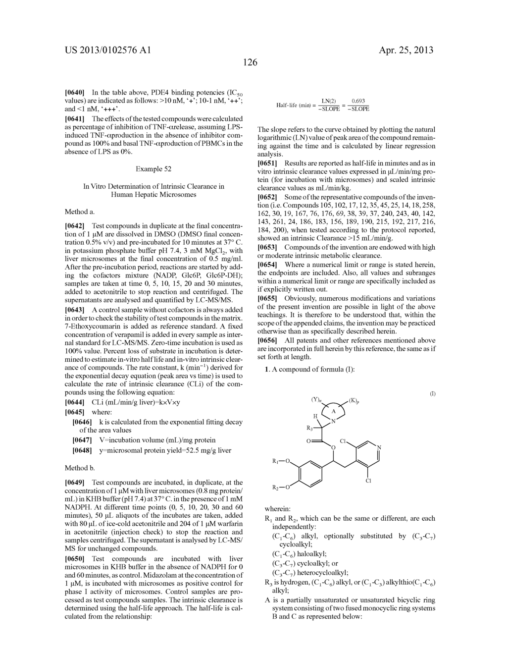 DERIVATIVES OF 1-PHENYL-2-PYRIDINYL ALKYL ALCOHOLS AS PHOSPHODIESTERASE     INHIBITORS - diagram, schematic, and image 126