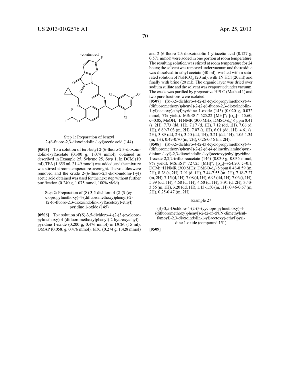 DERIVATIVES OF 1-PHENYL-2-PYRIDINYL ALKYL ALCOHOLS AS PHOSPHODIESTERASE     INHIBITORS - diagram, schematic, and image 71
