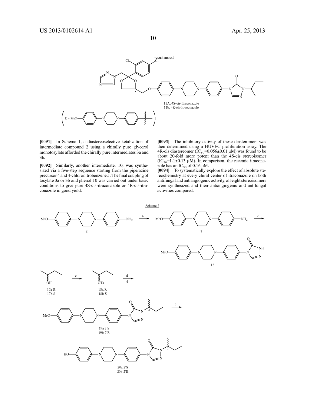 CHIRALLY PURE ISOMERS OF ITRACONAZOLE FOR USE AS ANGIOGENESIS INHIBITORS - diagram, schematic, and image 20