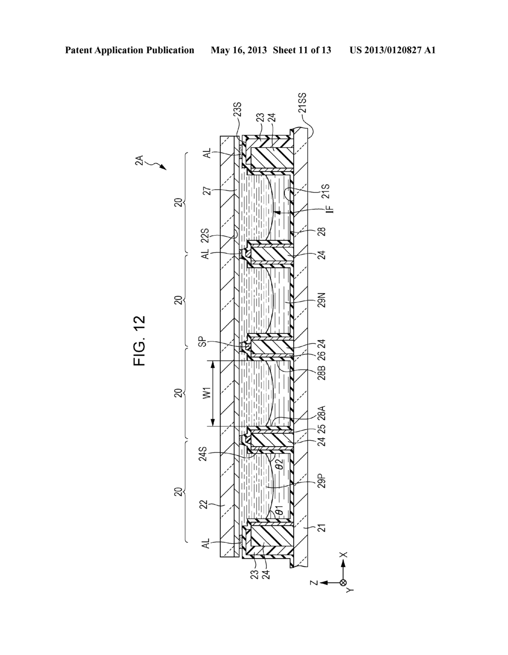 OPTICAL ELEMENT ARRAY, METHOD OF FORMING OPTICAL ELEMENT ARRAY, DISPLAY     DEVICE AND ELECTRONIC APPARATUS - diagram, schematic, and image 12