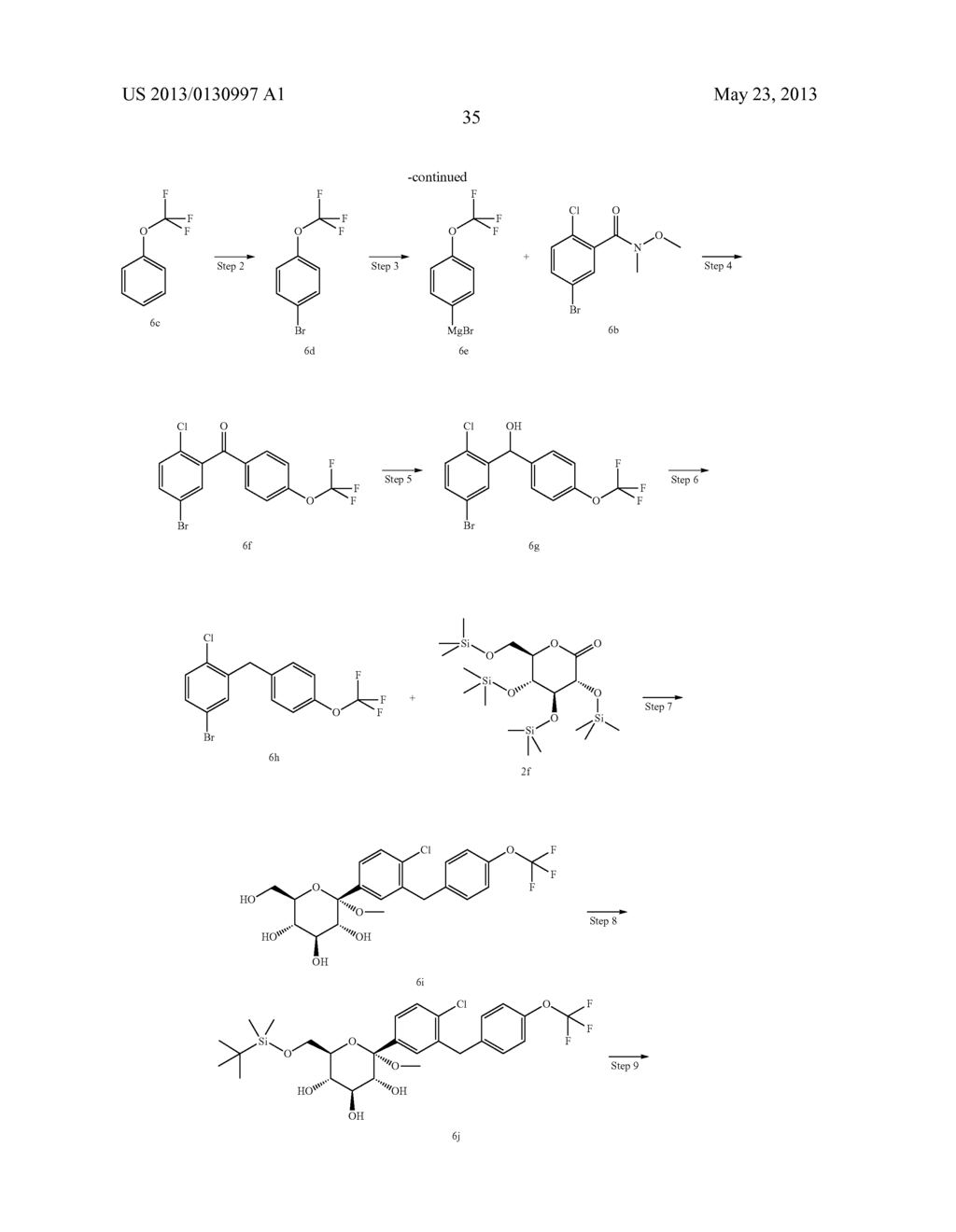 C-ARYL GLUCOSIDE DERIVATIVES, PREPARATION PROCESS AND PHARMACEUTICAL USE     THEREOF - diagram, schematic, and image 36