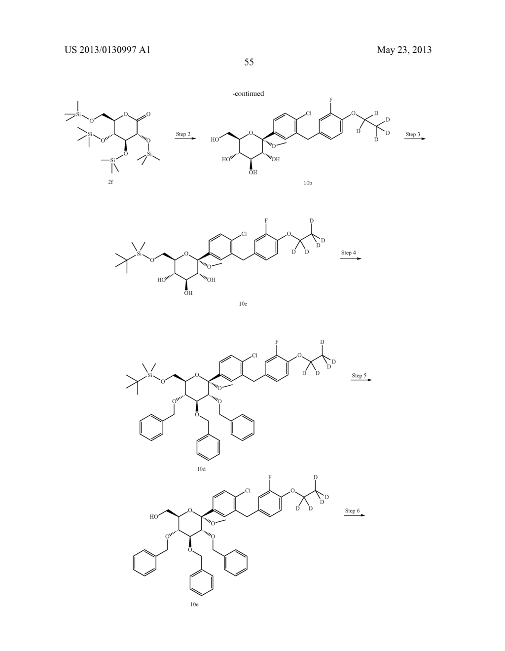 C-ARYL GLUCOSIDE DERIVATIVES, PREPARATION PROCESS AND PHARMACEUTICAL USE     THEREOF - diagram, schematic, and image 56