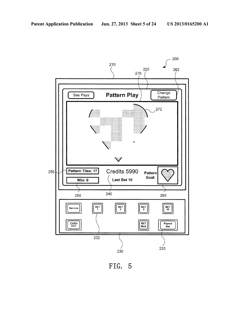GAMING DEVICE WITH PATTERN DISPLAY - diagram, schematic, and image 06