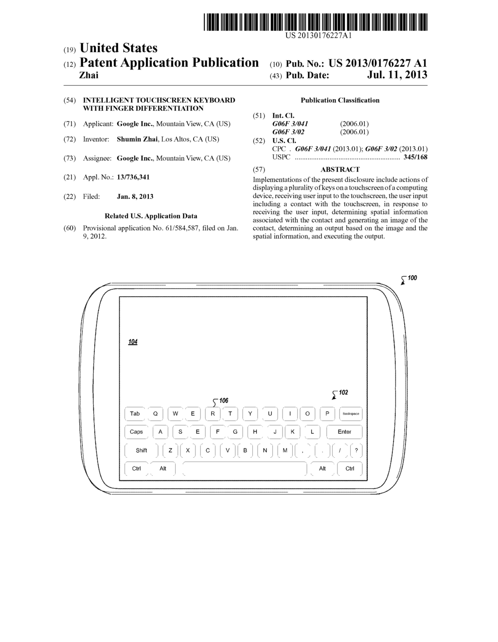 Intelligent Touchscreen Keyboard With Finger Differentiation - diagram, schematic, and image 01