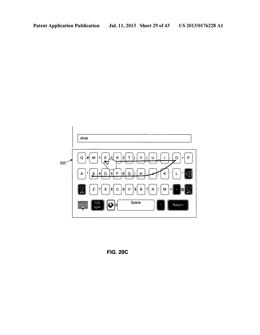 TOUCHSCREEN KEYBOARD PREDICTIVE DISPLAY AND GENERATION OF A SET OF     CHARACTERS - diagram, schematic, and image 30