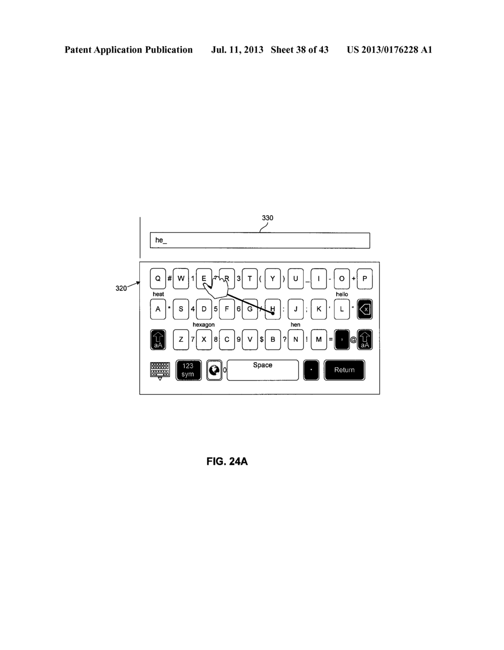 TOUCHSCREEN KEYBOARD PREDICTIVE DISPLAY AND GENERATION OF A SET OF     CHARACTERS - diagram, schematic, and image 39