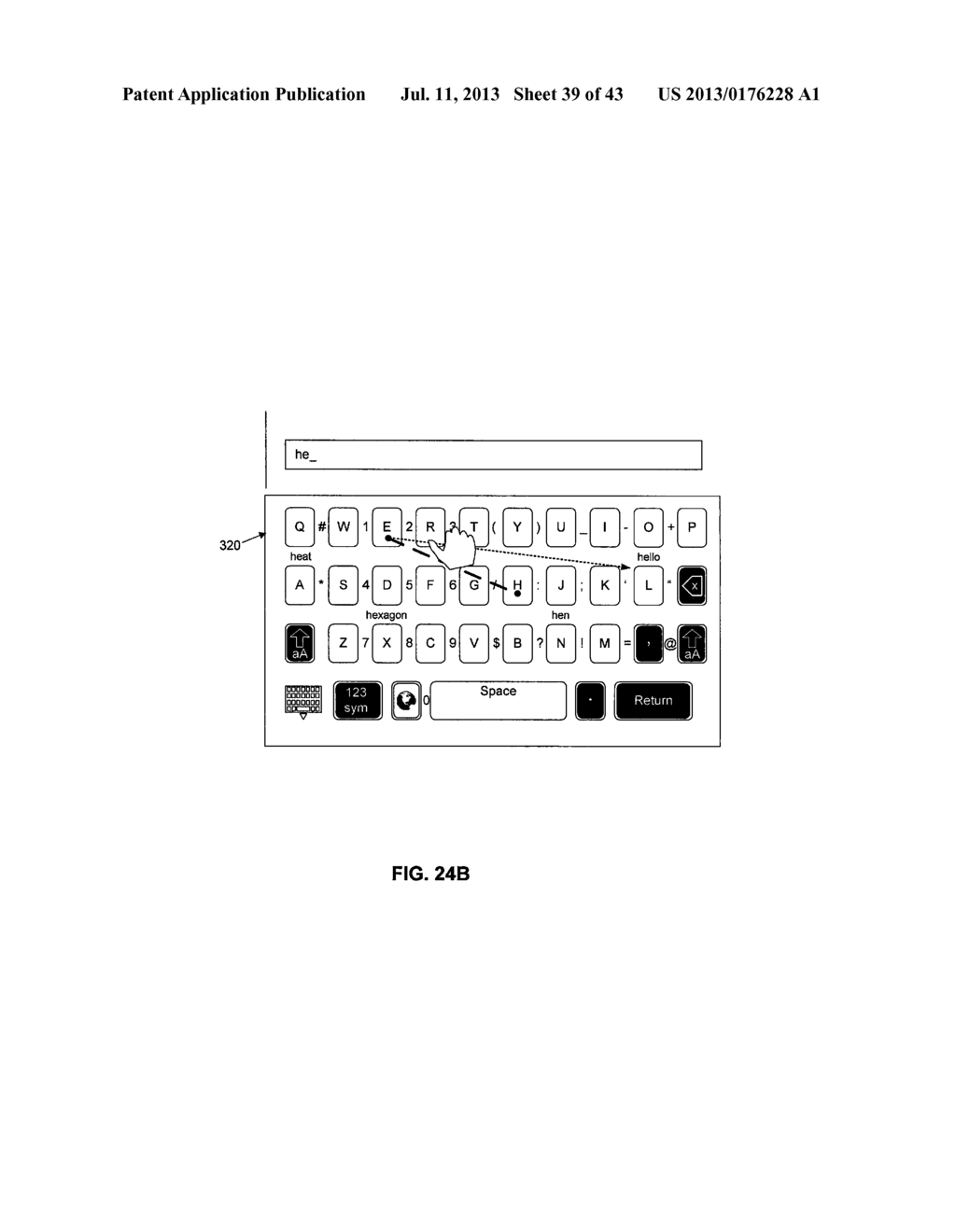 TOUCHSCREEN KEYBOARD PREDICTIVE DISPLAY AND GENERATION OF A SET OF     CHARACTERS - diagram, schematic, and image 40