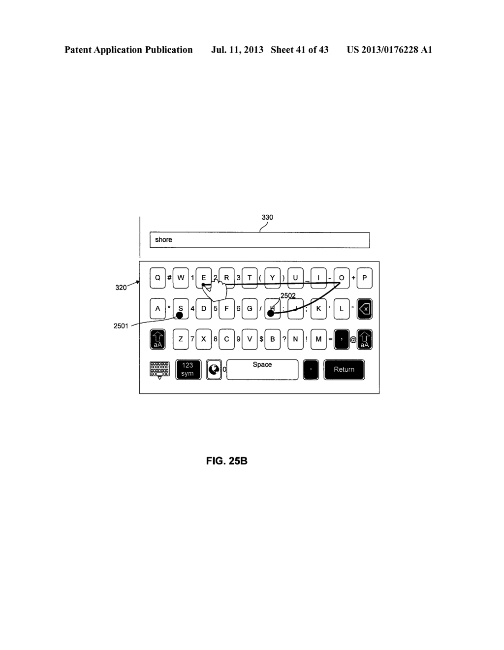 TOUCHSCREEN KEYBOARD PREDICTIVE DISPLAY AND GENERATION OF A SET OF     CHARACTERS - diagram, schematic, and image 42