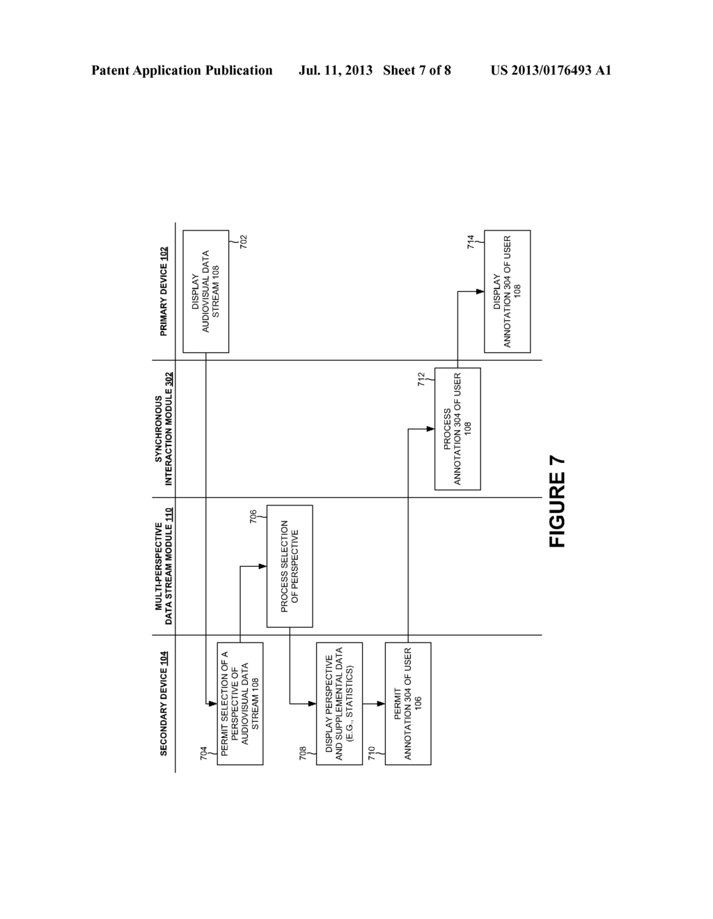 AUTHENTICATION AND SYNCHRONOUS INTERACTION BETWEEN A SECONDARY DEVICE AND     A MULTI-PERSPECTIVE AUDIOVISUAL DATA STREAM BROADCAST ON A PRIMARY DEVICE     GEOSPATIALLY PROXIMATE TO THE SECONDARY DEVICE - diagram, schematic, and image 08