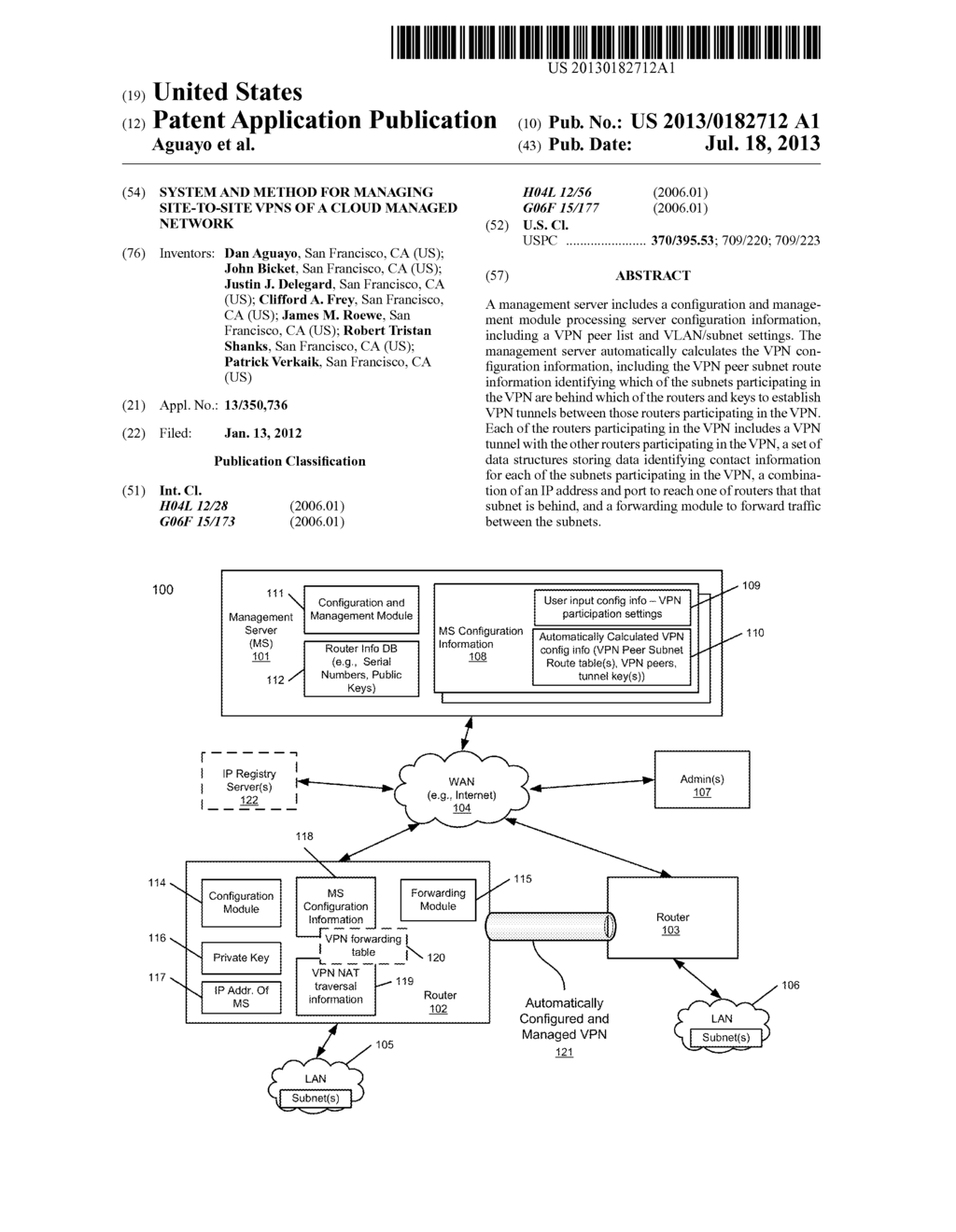 SYSTEM AND METHOD FOR MANAGING SITE-TO-SITE VPNS OF A CLOUD MANAGED     NETWORK - diagram, schematic, and image 01