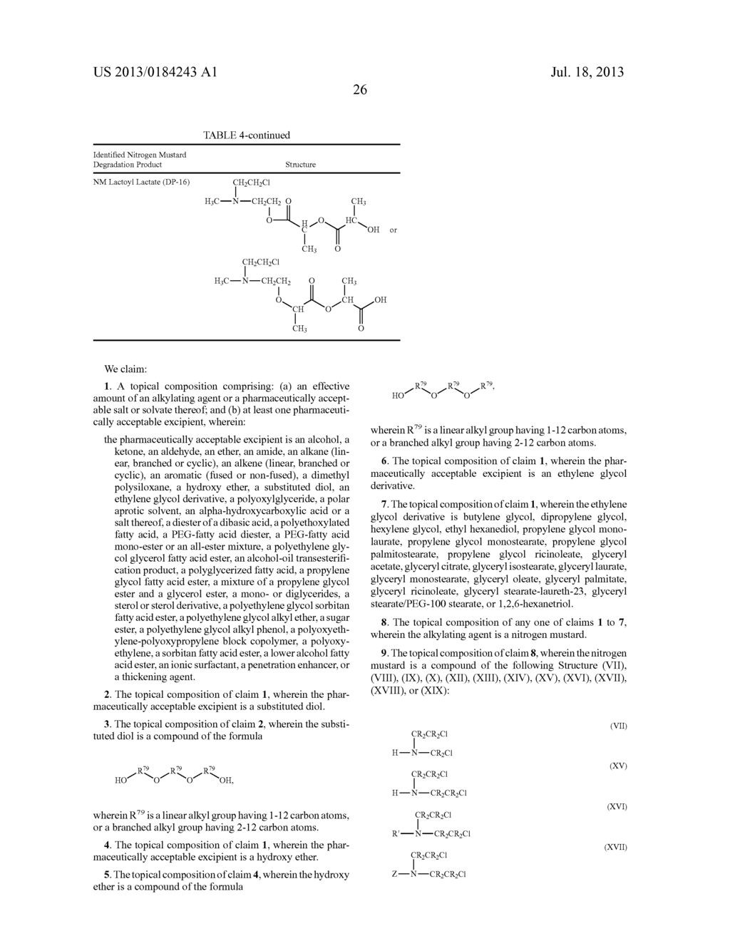 COMPOSITIONS OF ALKYLATING AGENTS AND METHODS OF TREATING SKIN DISORDERS     THEREWITH - diagram, schematic, and image 27